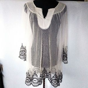 Amazing sheer boho embroidered tunic top
